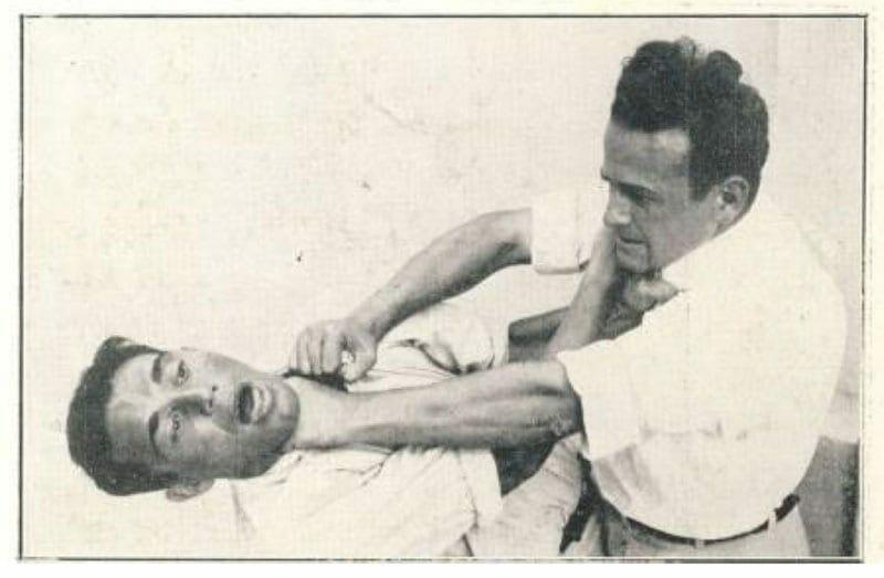 (Feldenkrais releasing himself from a choke hold).